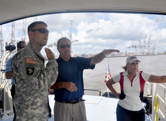 Burt Moore, chief of navigation for the U.S. Army Corps of Engineers Savannah District, talks with Col. Thomas J. Tickner, commander of the Corps' Savannah District, during a survey vessel tour of the Savannah harbor Aug. 19. Right is Peggy O'Bryan, chief of the Operations Division. The Savannah District is responsible for operating and maintaining the Savannah shipping channel and is the lead federal agency for the Savannah Harbor Expansion Project.