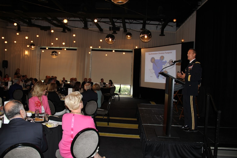 SWD Commander, Brig. Gen. Tom Kula addressed members of the North Texas Commission at a luncheon Aug. 15, to discuss the Corps mission and emphasized the importance of supporting veterans and wounded warriors. Kula provided the crowd of business owners, community members, entrepreneurs, veterans and military members with a short briefing about SWD, its mission and priorities followed by a sit down Q&A session hosted by former Dallas County Commissioner, Maurine Dickey. Dickey asked Kula questions about the Corps role in the drought, the importance of hiring veterans and the significance in promoting science, technology, engineering and math skills in middle school through college age students. The North Texas Commission is a not-for-profit organization that brings together businesses, government entities and higher education institutions to enhance the economic vitality of North Texas