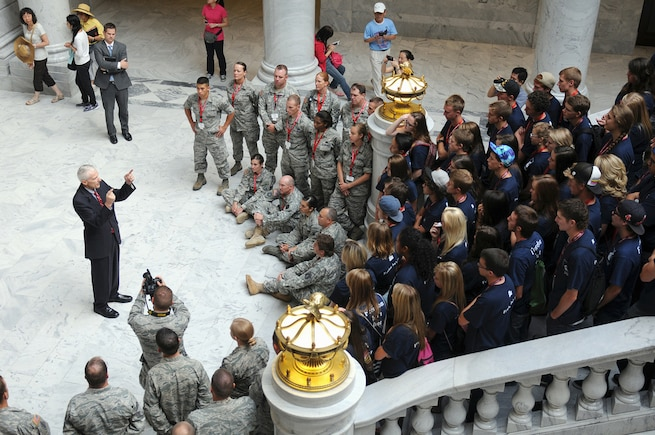 Utah's lieutenant governor, Greg Bell, addresses Freedom Academy delegates in the Utah State Capitol rotunda, July 30. Freedom Academy is an annual leadership conference sponsored and hosted by the Utah National Guard since 1961 that brings in student body leaders from high schools across Utah and neighboring states to teach them about all aspects of leadership. (U.S. Army National Guard photo by Sgt. Scott Wolfe, 128th Mobile Public Affairs Detachment)