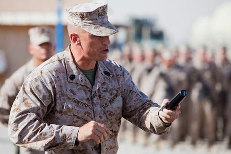 U.S. Marine Sgt. Maj. Roger Griffith, the incoming sergeant major for Combat Logistics Regiment 2, addresses the Marines of Combat Logistics  Battalions 6 and 8 during a Relief and Appointment ceremony on Camp Leatherneck, Helmand province, Afghanistan, July 25, 2013. Griffith told the outgoing CLB-8 Marines that he would continue the hard work they put forth over the previous seven months supporting Regional Command (Southwest). (U.S. Marine Corps photo by Sgt. Anthony L. Ortiz / Released)