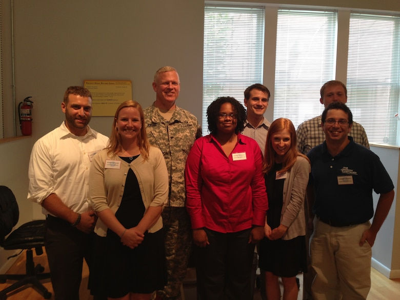 Baltimore District Commander Col. Trey Jordan takes a group picture with the VCP Alexandria Laboratory team.