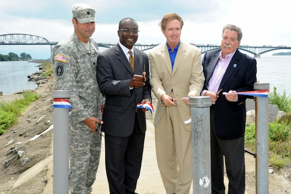 Congressman Brian Higgins, Buffalo Mayor Byron Brown, Buffalo District Commander Lt. Col. Owen Beaudoin and Niagara Greenway Executive Director Rob Beleu gathered at the Bird Island Pier on August 13, 2013 for a ribbon cutting ceremony to announce the official reopening of the pier.