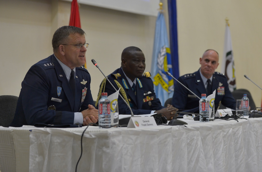 From left to right, Gen. Frank Gorenc, U.S. Air Forces in Europe and Air Forces Africa commander, Air Vice Marshal Michael Samson-Oje, Ghanaian chief of air staff, and Lt. Gen. Craig A. Franklin, 3rd Air Force commander, discuss the importance of regional cooperation with members of the local press in Africa, Aug. 20, 2013, Accra, Ghana. The Regional African Air Chiefs Symposium brings air chiefs together to discuss how their unique air capabilities can be collaborated to resolve regional issues.