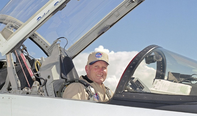 NASA astronaut and former Air Force test pilot, retired Col. Gordon Fullerton in the cockpit of a T-38 Talon mission support aircraft at NASA's Dryden Flight Research Center at Edwards Air Force Base, Calif. Fullerton passed away Aug. 21, 2013. (NASA photo/Tony Landis)