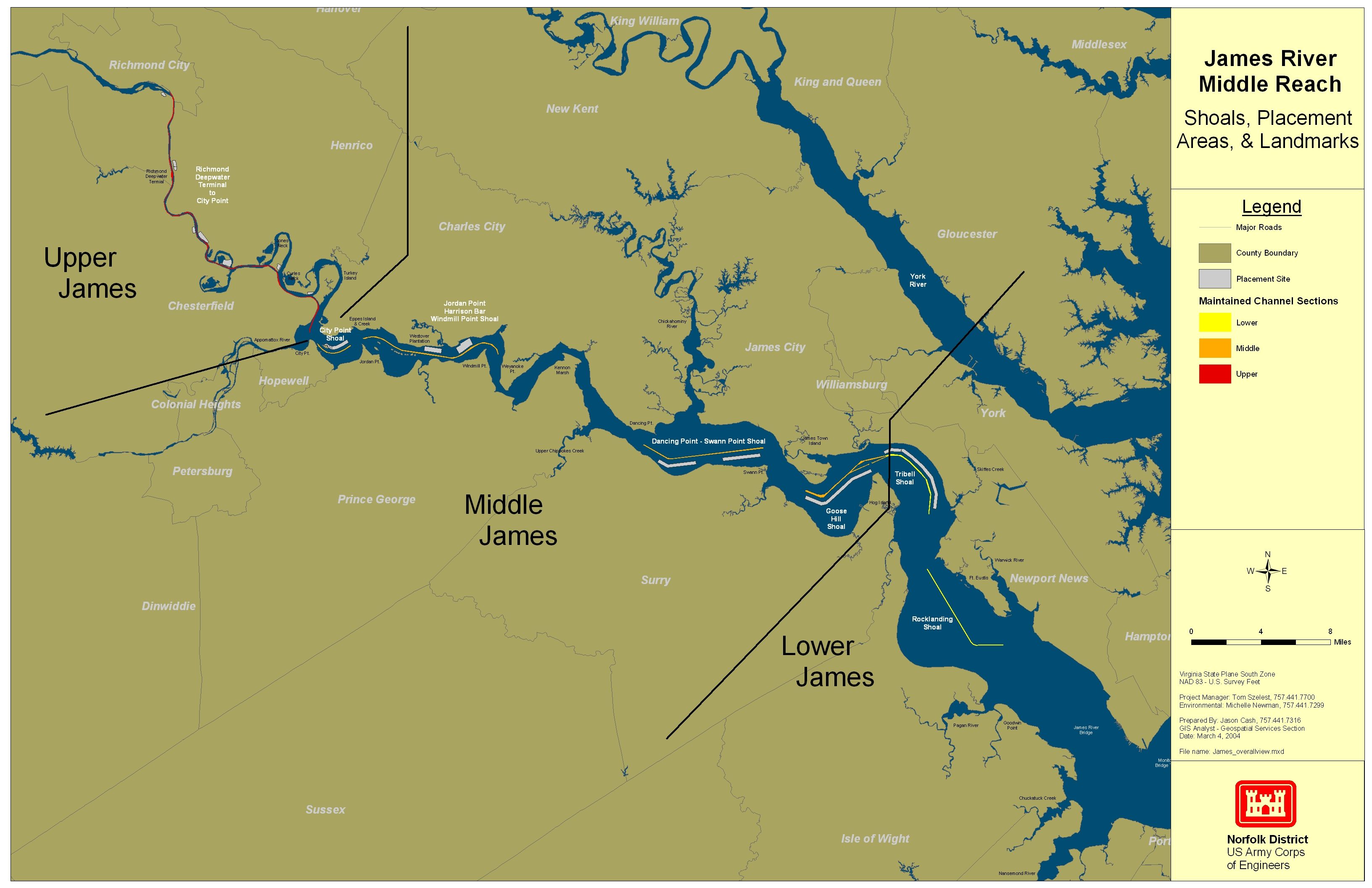 James River Map James River Navigation Channel Map