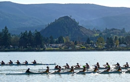 The buoyed race courses and beautiful scenery make Dexter Lake a premier rowing location in the Northwest.