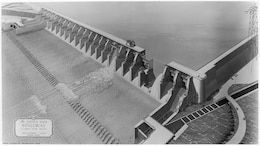 Rendering of The Dalles Dam Spillway, Columbia River, Oregon, 1954