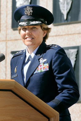 Academy Superintendent Lt. Gen. Michelle Johnson speaks at the Academy change of command ceremony Aug. 12.  Johnson, a 1981 Academy graduate, said a sense of humility has helped her succeed throughout her career. (U.S. Air Force Photo/Sarah Chambers)