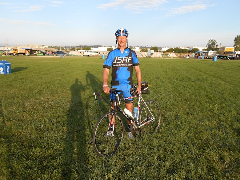 Chief Master Sgt. Alan Onufrak, 460th Medical Group superintendent, prepares for his 408 mile trek across Iowa July 21, 2013.  Onufrak participated in the Registers Annual Great Bicycle Ride Across Iowa as part of the Air Force team for the second time in his career. (Courtesy Photo)