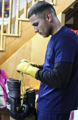 NEW YORK - Staff Sgt. Todd Dekinderen, a recruiter at Marine Corps Recruiting Substation Brooklyn, Recruiting Station New York, prepares to train at the Sadam Ali Boxing Center in Brooklyn, Feb. 28. Dekinderen is a Pontiac, Mich., native and aspires to become a professional boxer.  (U.S. Marine Corps photo by Sgt. Kristin E. Moreno).