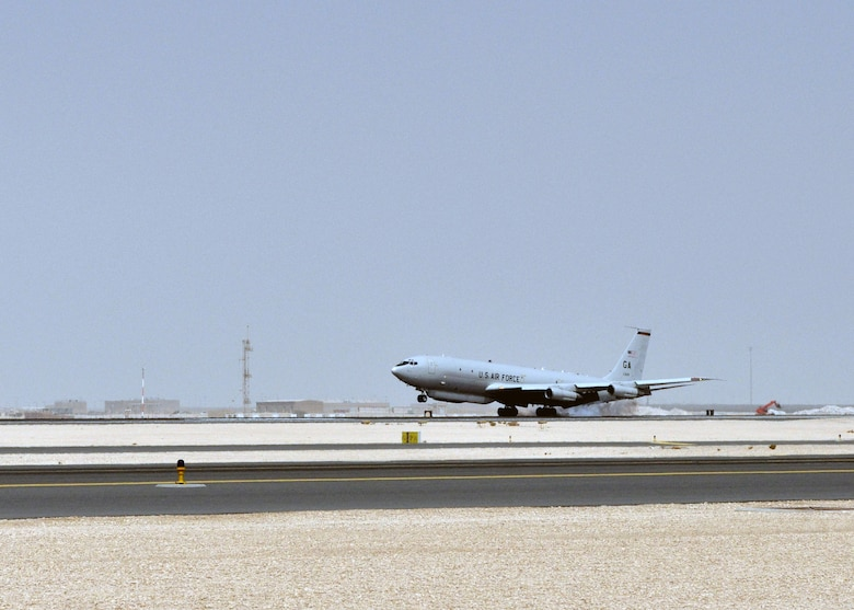 An E-8C Joint Surveillance Target Attack Radar System touches down on the 379th Air Expeditionary Wing's runway in Southwest Asia after reaching 85,000 hours in the U.S. Central Command area of responsibility Aug. 17, 2013. The 7th Expeditionary Airborne Command and Control Squadron has flown the JSTARS an average of 19.4 hours each day since events following 9/11, or the equivalent of being airborne continuously for almost 10 years. (U.S. Air Force photo/1st Lt. Susan Harrington)
