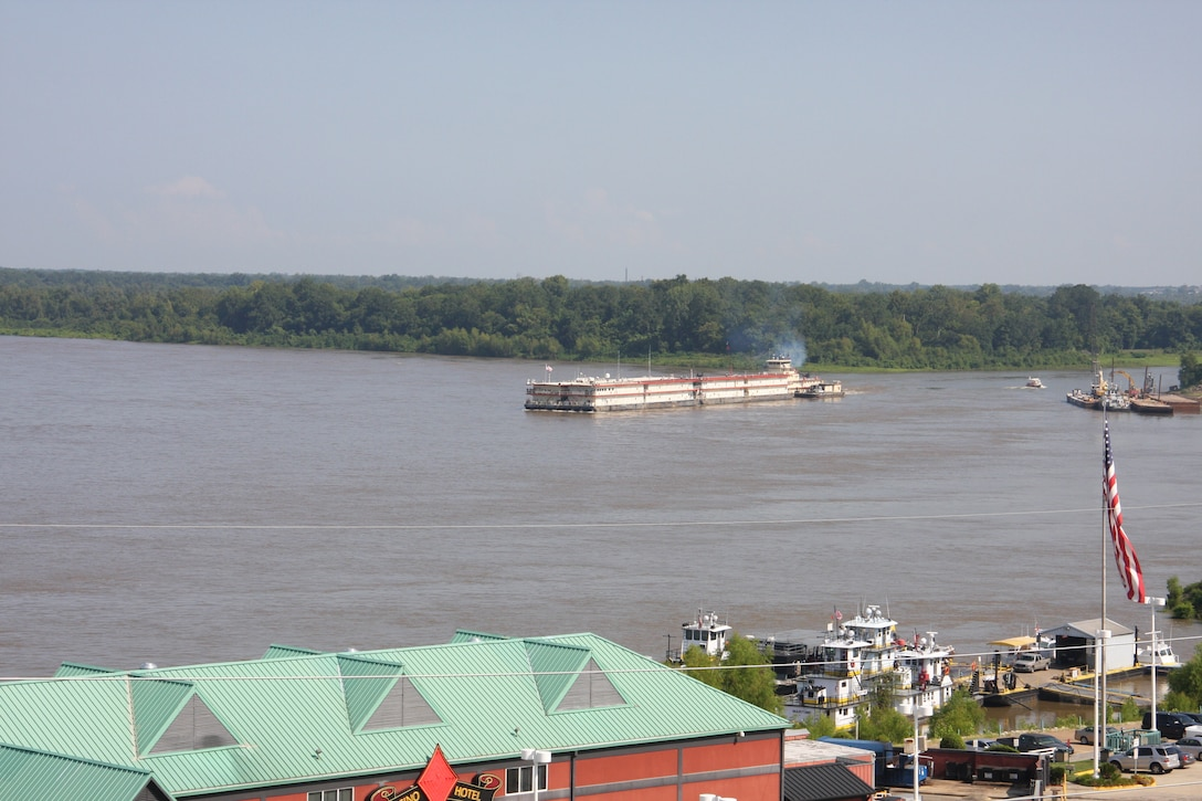 Vicksburg, Miss… The U. S. Army Corps of Engineers (Corps) Vicksburg District's Mat Sinking Unit (MSU) is scheduled to begin laying articulated concrete mats on the banks of the Mississippi River on August 26.  The vessels of the MSU will depart the Vicksburg Harbor, Friday, 23 August 2013, and assemble around noon below the I-20 bridge before proceeding to their first worksite.