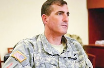 Col. Matthew Lewis, CAB commander, discusses the CAB's road to war in a recent interview. The CAB is supporting Operation Enduring Freedom and the ISAF's mission in Afghanistan.  Photo by: Sgt. Keven Parry, CAB.