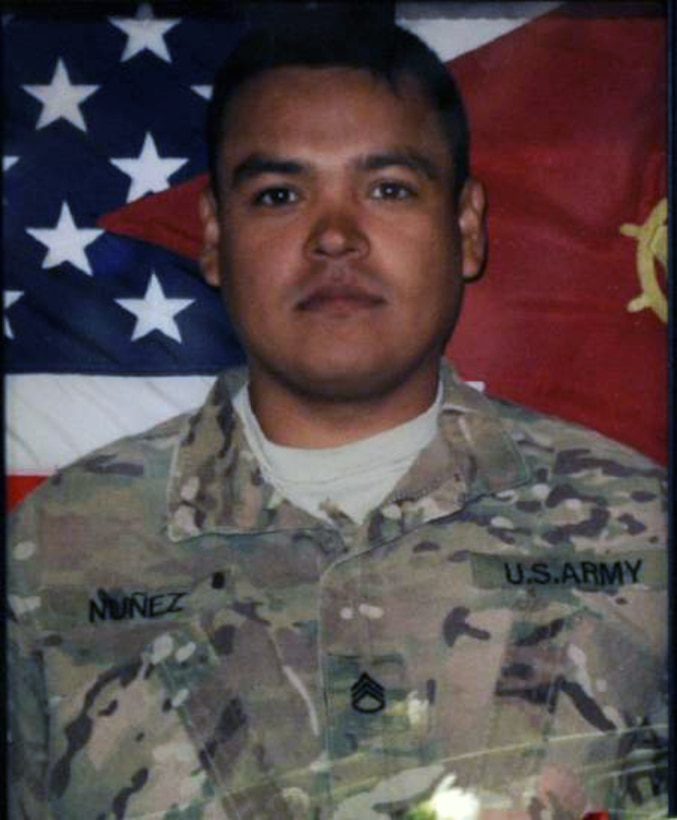 Army Staff Sgt. Joe Nunez, 29, from Pasadena, Calif., was killed on May 30, 2013, during a retrograde mission in Wardak Province, Afghanistan. Air Force Senior Airman Taylor Savage and others were wounded, and aided on scene by Air Force medics, Staff Sgts. Amber Fredrick and Maria Szymanski. (Courtesy photo)
