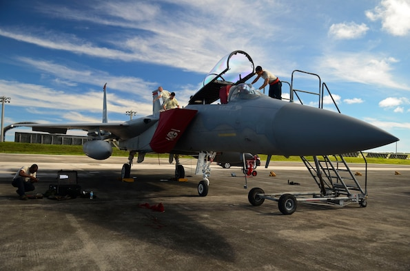 Airmen from the 18th Maintenance Group from Kadena Air Base, Japan, conduct pre-flight maintenance on an F-15 Eagle Aug. 27, 2013, on the Andersen Air Force Base, Guam, flightline. The F-15s were scheduled to return the same day back to Kadena Air Base, Japan, after completing the Aviation Relocations Program. (U.S. Air Force photo/Airman 1st Class Marianique Santos)