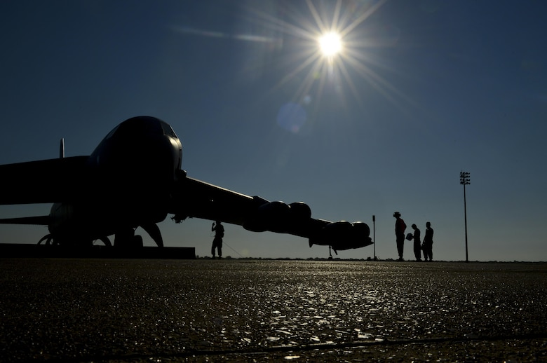 Airmen from the 2nd Aircraft Maintenance Squadron prepare to launch a B-52H Stratofotress on Barksdale Air Force Base, La., Aug. 26, 2013. Aircrew and their crew chiefs deployed to Anderson AFB, Guam, to support the continuous bomber presence in the Pacific. The crew chiefs deployed to provide maintenance support for the B-52.