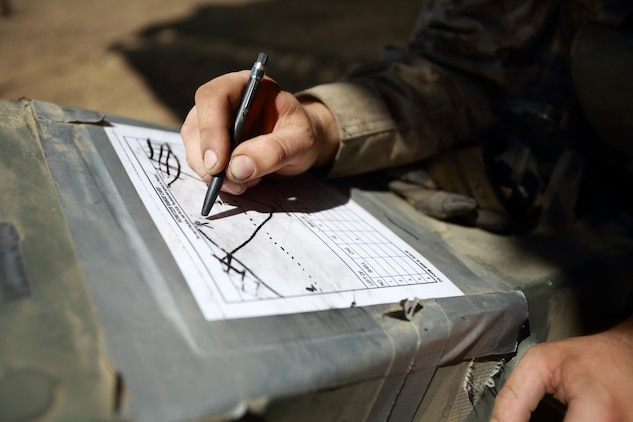 Lance Cpl. James Miller, field artillery cannoneer, Kilo Battery, 2nd Battalion, 11th Marine Regiment, sketches a range card during the 11th Marines fire exercise here, Aug. 22, 2013. The range card is used by the Marines to measure distance between them and enemy forces in case of an attack on their position. Eleventh Marines, an artillery regiment comprised of four battalions, demonstrated their ability to shoot, move and communicate to support of 1st Marine Division during a large-scale, live-fire training exercise, Aug. 19 through 28. Miller is a native of Grand Rapids, Minn.