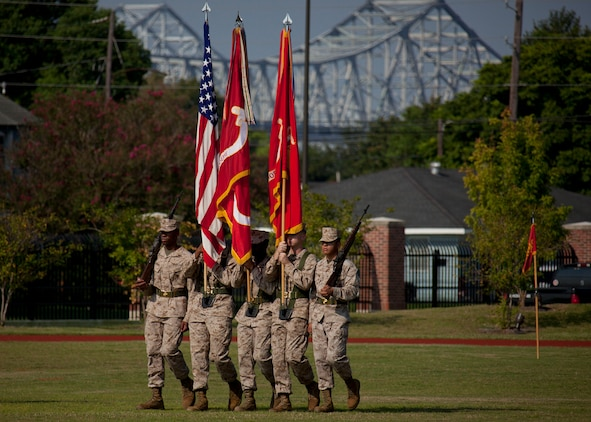 The Marine Forces Reserve color guard assumes their position during the MARFORRES assumption of command and appointment ceremony aboard Marine Corps Support Facility New Orleans, Aug. 28, 2013. Lt. Gen. Richard P. Mills, the commander of MARFORRES and Marine Forces North, is taking charge of the largest command in the Marine Corps, encompassing more than 100,000 Marines at more than 160 sites in 47 U.S. states, Guam and Puerto Rico.