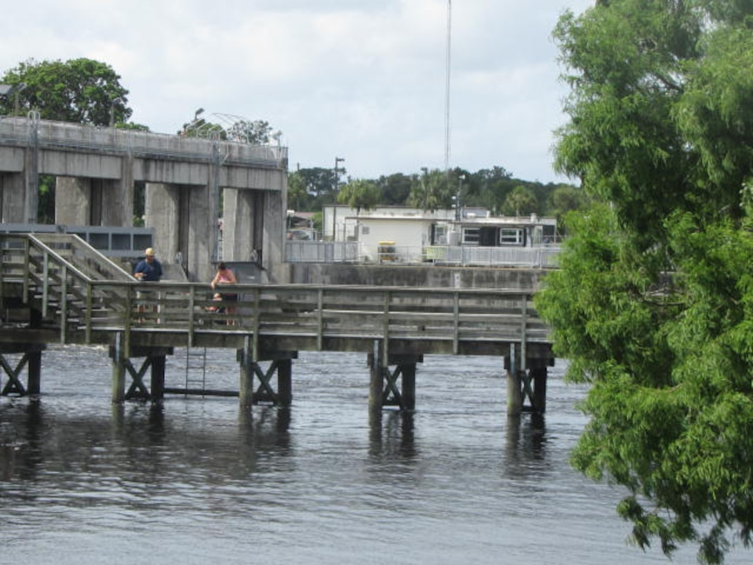 Campers and local fishermen can catch both fresh and saltwater species at the fishing pier at W.P. Franklin Lock and Dam.