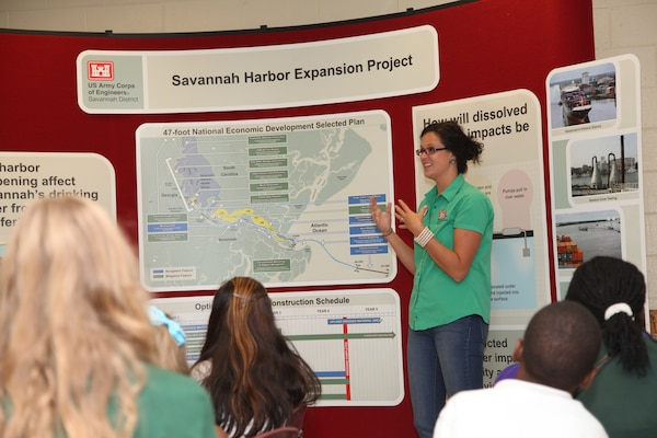 SAVANNAH, Ga. -- Tracy Robillard, public affairs specialist with the  U.S. Army Corps of Engineers Savannah District, talks with students about the Savannah Harbor Expansion Project (SHEP) at Gould Elementary School, Aug. 27. The presentation was part of the school's special six-week unit of study focusing on the harbor deepening.