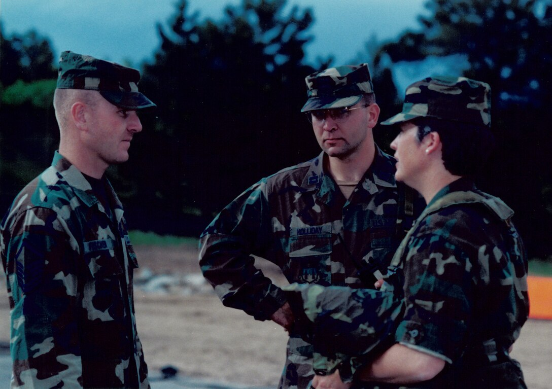 Then-Master Sgt. Louis Fischer conducts training with U.S. Air Force Academy cadre. Fischer was an Academy military training leader. (Courtesy photo)