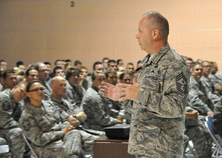 The Command Chief of the Air National Guard, Chief Master Sgt. James W. Hotaling, conducts an All Call Aug. 10 with members of the Montana Air National Guard's 120th Fighter Wing. The All Call focused on renewing a commitment to the profession of arms, issues that impact the health of the force, and the importance of recognizing and embracing each unit member's accomplishments.  (U.S. Air National Guard photo/ Senior Master Sgt. Eric Peterson)