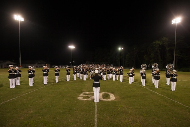 The Marine Corps Recruit Depot Parris Island Marine Corps Band performed during a Thomas Hayward Academy football game in Ridgeland, S.C., Aug. 23. The academy invited the band as part of a military appreciation theme for the game.