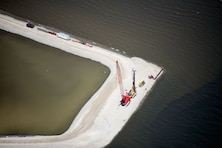 An aerial view of the Cat Island Restoration Project in Green Bay, Wis.