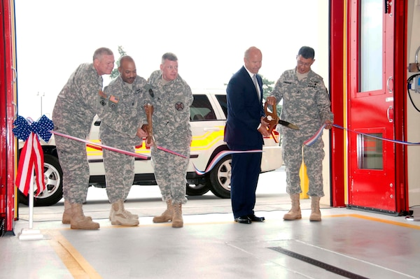 The U.S. Army Corps of Engineers Baltimore and New York Districts, in coordination with the Fort Detrick Fire Department, officially opened the Emergency Services Center at Fort Detrick, Md., Wednesday.