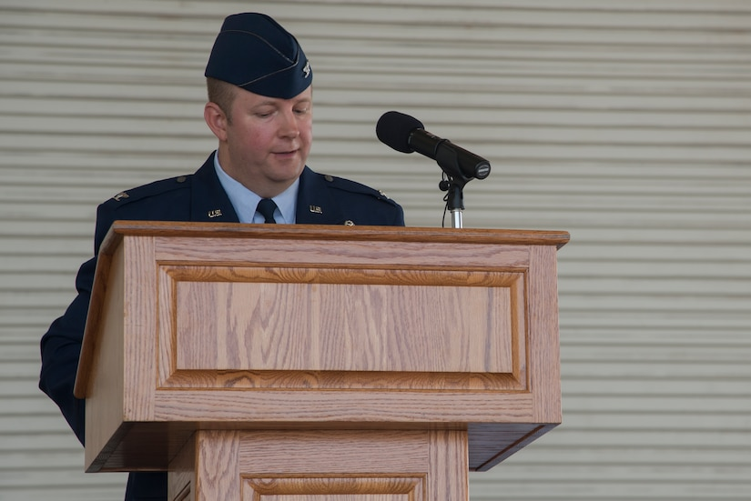 Col. Jeffrey DeVore speaks before military and community members for the first time as commander of Joint Base Charleston during the Change of Command ceremony, Aug. 29, 2013, at JB Charleston – Air Base. DeVore, previously the commander of the 386th Expeditionary Operations Group, Southwest Asia, officially assumed command Col. Richard McComb  during the change of command ceremony. McComb will be assuming duties at the Pentagon, Washington D.C. As the JB Charleston commander, McComb provided installation support to a total force of more than 86,000 Airmen, Sailors, Soldiers, Marines, Coast Guardsmen, civilians, dependents and retirees across both the Air Base and Weapons Station. (U.S. Air Force photo/Tech. Sgt. Rasheen Douglas)