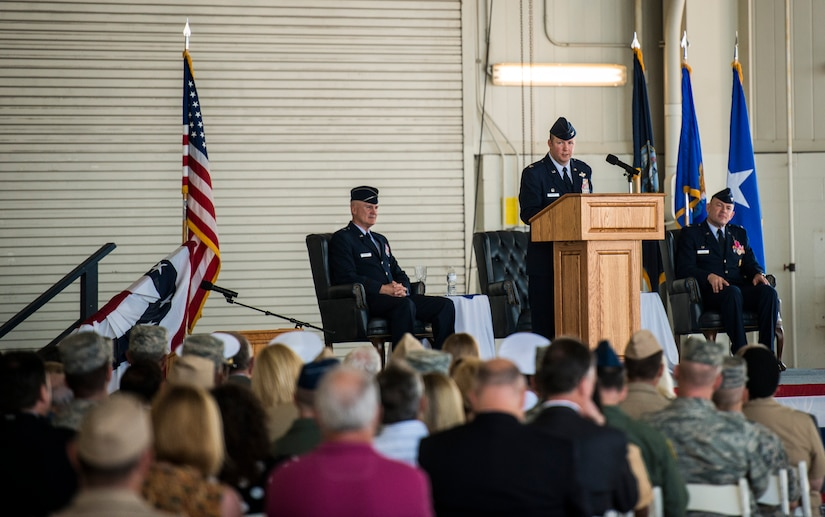 Col. Jeffrey DeVore addresses the crowd for the first time as commander of the 628th Air Base Wing and JB Charleston during the Change of Command ceremony, Aug. 29, 2013, at JB Charleston – Air Base. DeVore, previously the commander of the 386th Expeditionary Operations Group, Southwest Asia, officially assumed command from Col. Richard McComb during the change of command ceremony. McComb will be assuming duties at the Pentagon, Washington D.C. As the JB Charleston commander, McComb provided installation support to a total force of more than 86,000 Airmen, Sailors, Soldiers, Marines, Coast Guardsmen, civilians, dependents and retirees across both the Air Base and Weapons Station. (U.S. Air Force photo/ Senior Airman Dennis Sloan)
