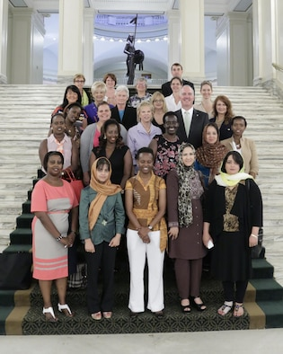 Katie Ward, second from left on the third row up, recently spoke with nine women in their mid-30s from Rwanda and Afghanistan during a roundtable at the Oklahoma Capitol. Ms. Ward is a program manager in the Air Force Life Cycle Management Center. (Courtesy photo)
