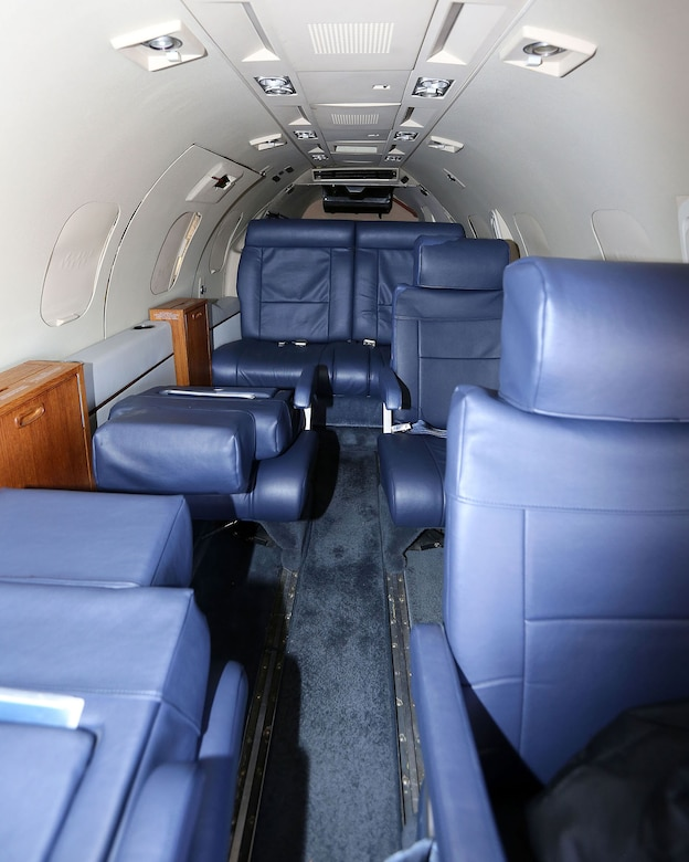 DAYTON, Ohio -- Learjet C-21A interior at the National Museum of the U.S. Air Force. (U.S. Air Force photo by Don Popp)