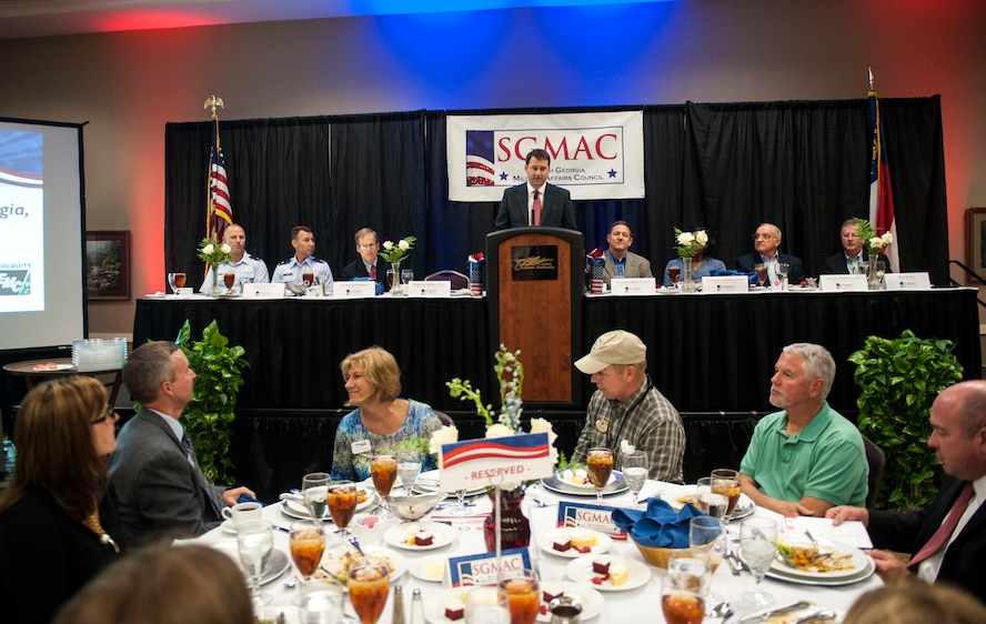 Michael Lee, Valdosta-Lowndes Chamber of Commerce member, speaks during the South Georgia Military Affairs Council (SGMAC) luncheon in Valdosta, Ga., Aug. 23, 2013. The SGMAC is made up of members from the four chambers of commerce surrounding Moody Air Force Base, Ga.(U.S. Air Force photo by Senior Airman Jarrod Grammel/Released)