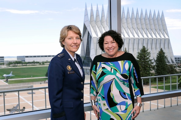 Supreme Court associate justice Sonia Sotomayor (right) poses with Academy Superintendent Lt. Gen. Michelle Johnson during a visit to the Air Force Academy Aug. 29. Sotomayor held an open forum for approximately 50 cadets and 20 faculty members from the Academy's Law and Political Sciences Department to share her experiences about life as a justice on the nation's highest court. (U.S. Air Force Photo/Sarah Chambers)
