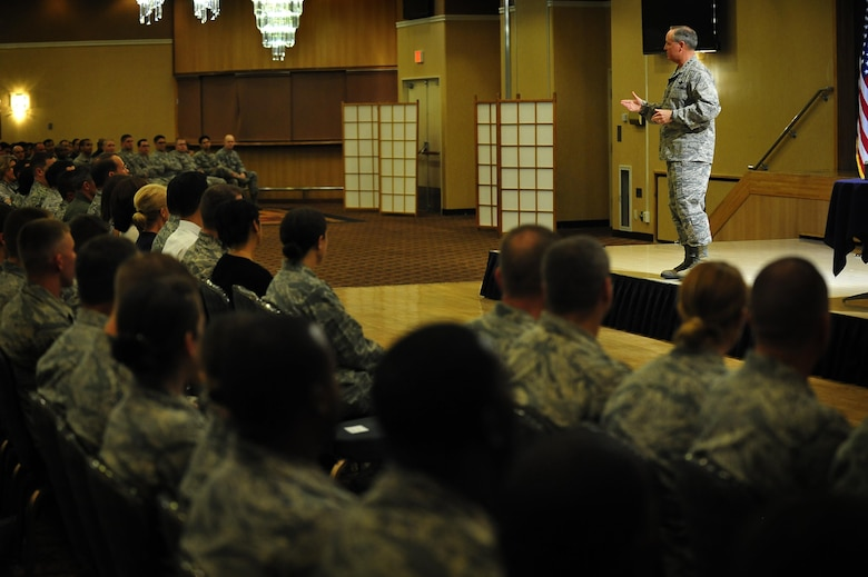 Air Force Chief of Staff Gen. Mark A. Welsh III addresses the audience during an Airman's call Aug. 28, 2013, at Misawa Air Base, Japan. As part of a two-week tour to the Pacific, Welsh visited Misawa to talk about the current state of the Air Force and thank Airmen and their families for their service and dedicated support. (U.S. Air Force photo/Staff Sgt. Nathan Lipscomb)