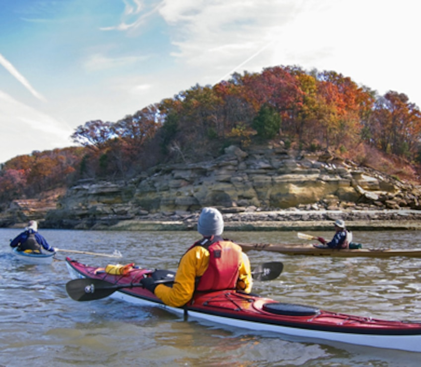 Paddlers enjoy the Red Rock Trail at Lake Red Rock near Knoxville, Iowa. The trail has been officially designated as a National Water Trail by the National Park Service.