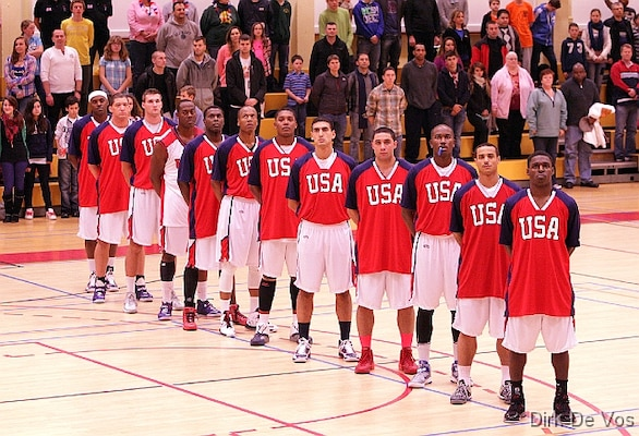 Team USA lines up prior to their game against Kazakhstan during the 2013 SHAPE International Basketball Tournament held at SHAPE (Mons), Belgium 24-30 November.  USA won 104-55.