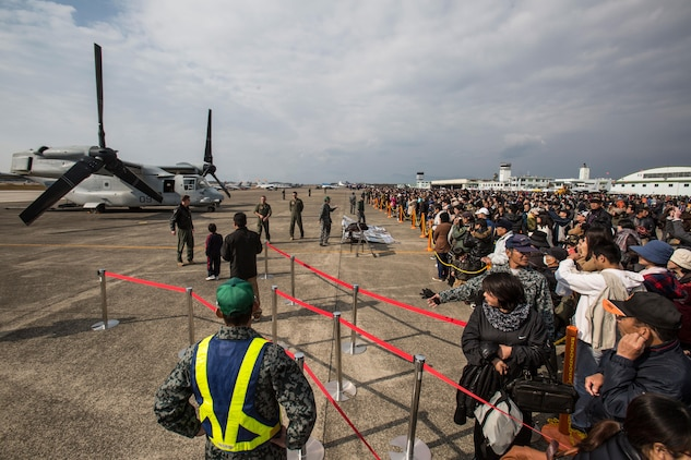 Marines from Marine Medium Tiltrotor Squadron 265, an MV-22 Osprey squadron stationed at Marine Corps Air Station Futenma, Okinawa, Japan, attended the Japan Air Self-Defense Force Nyutabaru Air Base Air Show, Dec. 1, 2013. The air show was the first public display of an Osprey in Mainland Japan. Prior to the air show, VMM-265 hosted a media relations event Nov. 30, aboard the JASDF installation. The air show is an annual event hosted by the JASDF in Miyazaki, Miyazaki Prefecture.