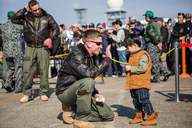 Marines from Marine Medium Tiltrotor Squadron 265, an MV-22 Osprey squadron stationed at Marine Corps Air Station Futenma, Okinawa, Japan, attended the Japan Air Self-Defense Force Nyutabaru Air Base Air Show, Dec. 1, 2013. The air show was the first public display of an Osprey in Mainland Japan. Prior to the air show, VMM-265 hosted a media relations event Nov. 30, aboard the JASDF installation. The air show is an annual event hosted by the JASDF in Miyazaki, Miyazaki Prefecture. (Official Marine Corps photo by Cpl. Benjamin Pryer/Released)