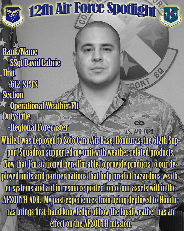 Tech Sgt. David Labrie, 612th Support Squadron regional weather forecaster, is highlighted in this week's 12th Air Force (Air Forces Southern) spotlight. (U.S. Air Force Graphic by Staff Sgt. Heather Redman/Released)