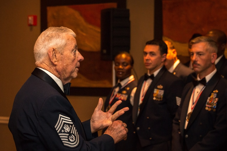 Chief Master Sgt. of the Air Force (ret.) Robert Gaylor speaks to the group of newly promoted Senior NCOs at their induction ceremony at Maxwell Air Force Base, Nov. 22. The seminar is designed to harness the leadership tools they've learned thus far in their Air Force careers so they can then help others advance in their careers. (U.S. Air Force photo by Staff Sgt. Christopher Morgan)