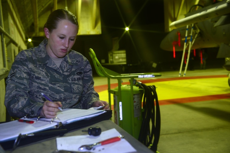 Airman 1st Class Katelyn Henry prepares forms for the next day's mission, during the Blue Flag exercise Nov. 24, 2013, at Uvda Air Force Base, Israel. Under abnormal conditions and in an unfamiliar location, maintainers from Royal Air Force Lakenheath had to use creative thinking and adaptability to meet mission requirements.  Henry is an aircraft armament systems apprentice with the 48th Aircraft Maintenance Squadron. (U.S. Air Force photo/Master Sgt. Lee Osberry)