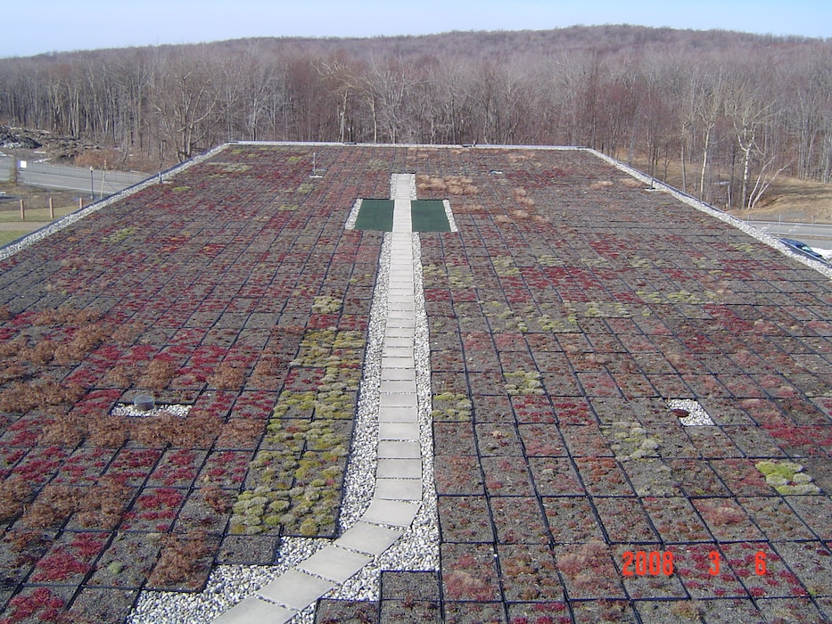 Green roof retrofit on industrial building at Tobyhanna Army Depot, Pennsylvania.