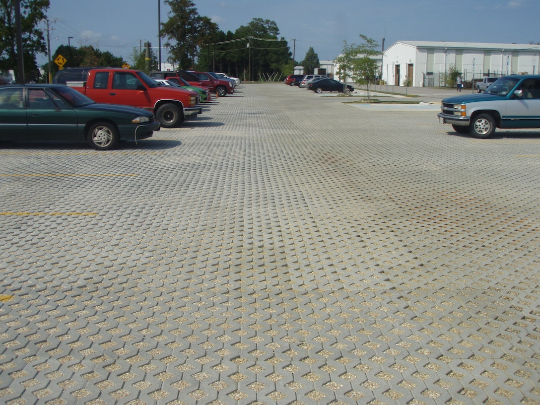 Permeable pavers in parking lot at Fort Lee, Virginia.