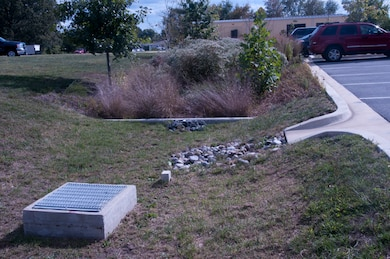 Bioretention with forebay and overflow inlet in parking lot at Fort Meade, Maryland.