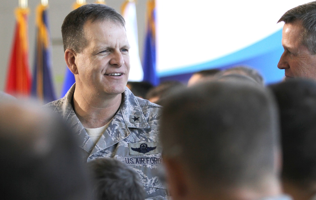PHOENIX-- Brig. Gen. Michael McGuire, the Adjutant General of Arizona, speaks with members of the 161st Air Refueling Wing Nov. 6, before an Employer Support of the Guard and Reserve event at Sky Harbor International Airport.  (Arizona National Guard photo by Army Sgt. Adrian Borunda)