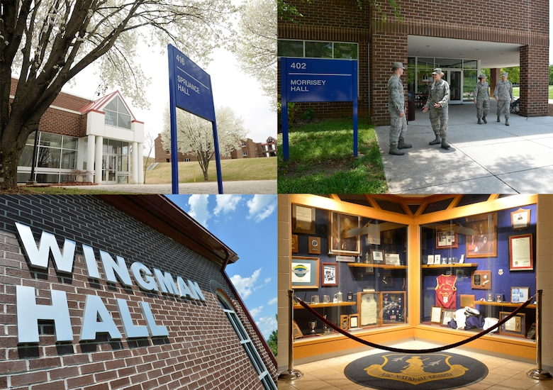 MCGHEE TYSON AIR NATIONAL GUARD BASE, Tenn. - The photos shown (clockwise, from top, left) are of the I.G. Brown Training and Education Center's Spruance Hall, Morrisey Hall and Wingman Hall. A display honors Col. Edmund Morrisey and Chief Master Sgt. Paul Lankford in Morrisey Hall. (U.S. Air National Guard photos by Master Sgt. Kurt Skoglund/Released)