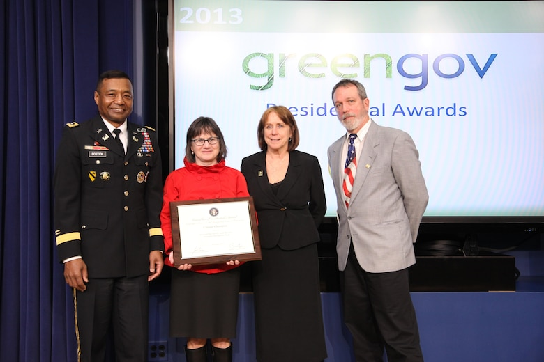 IWR Climate and Global Change team lead Kathleen D. White, PhD, PE, was part of a team recognized  a 2013 GreenGov Presidential Awards. The team was recognized for developing the Sea Level Rise Tool for Sandy Recovery, which is now being used in New York and New Jersey where planning and rebuilding is underway.  Left to right: Lieutenant General Thomas P. Bostick (USACE Commanding General and Chief of Engineers), Honorable Jo-Ellen Darcy (Assistant Secretary of the Army (Civil Works)), Kathleen D. White (USACE Institute for Water Resources), Mark Huber (USACE Army Geospatial Center).