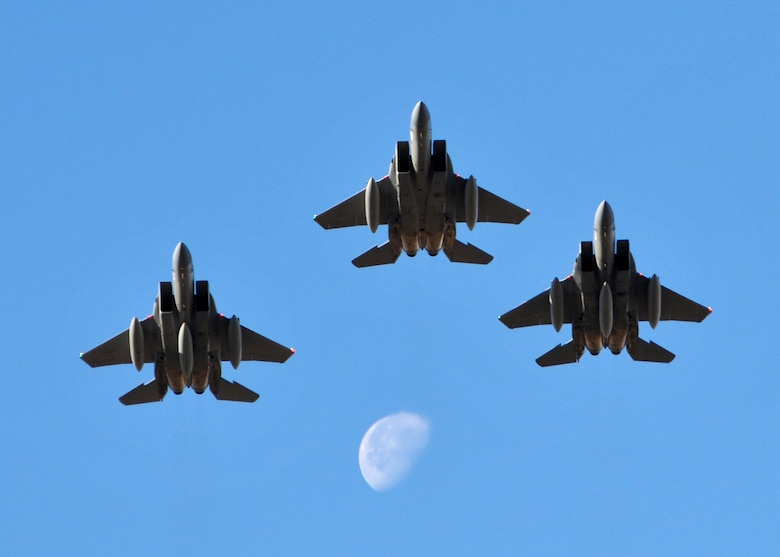 The last of the F-15 Eagles leave the Montana Air National Guard headed for Fresno, California. National Guard photo / Senior Master Sgt. Eric Peterson
